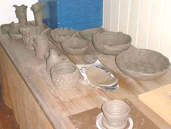 pottery dishes made by course participants