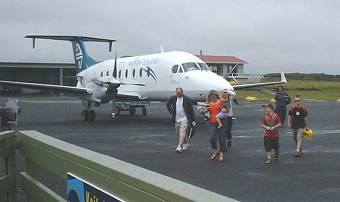 meeting the plane at Kaitaia Airport