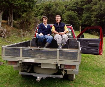 Jill and Ruth on the back of the ute