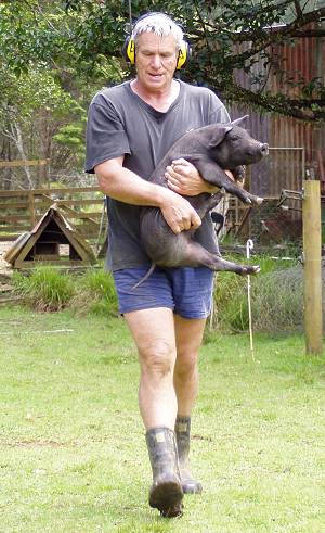 Stephan carrying one of the piglets