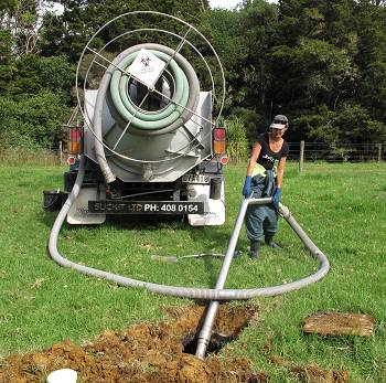 septic tank cleaning in progress