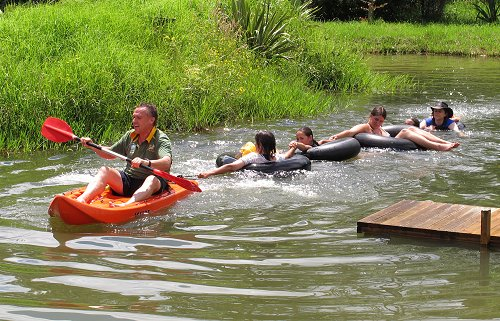 family fun in the pond