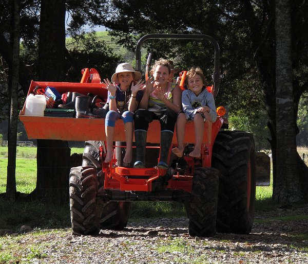 children on a tractor